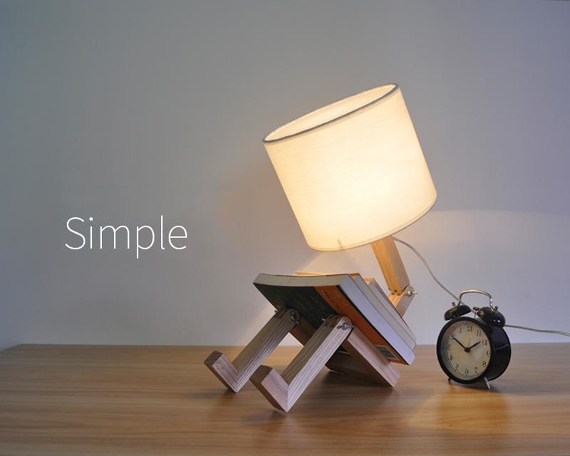 Nordice Modern Creative Gifts Foldable Robot Desk Table Lamps Wooden Base Table Lamp Bedside Reading Desk Lamp Home Decor Light Fixture (1)