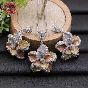 Image 2 - Lanyika תכשיטי סט דובאי הודי אלגנטי פרחי שרשרת עם עגילים עבור אירוסין אירועים חתונה פופולרי יוקרה הטוב ביותר מתנות