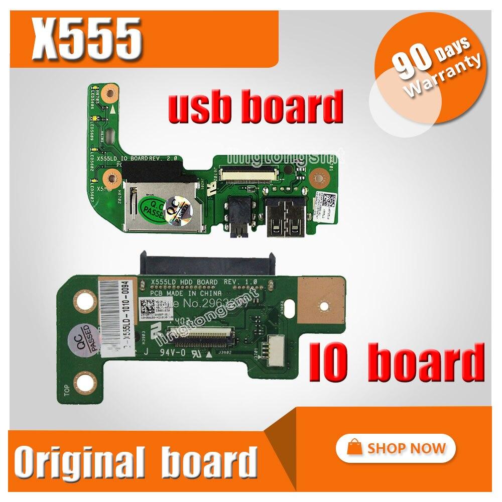 Para asus x555ld x555lp x555lp k555 r556l x555 w519l hdd disco rígido sb placa de leitor de cartão de áudio x555ld_io rev1.1 2.0 3.1 3.3