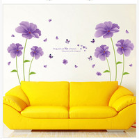 Sıcak satış pvc çıkartmaları diy dekoratif mor çiçekler kelebek kelimeler duvar çıkartmaları sanat ev duvar dekorasyon için