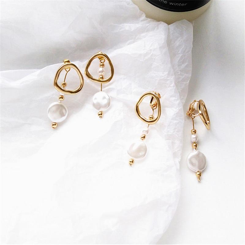 Korea Design Metal Gold Geometric Irregular Circle Square Pearl  Earrings for Women Girl Gift earrings
