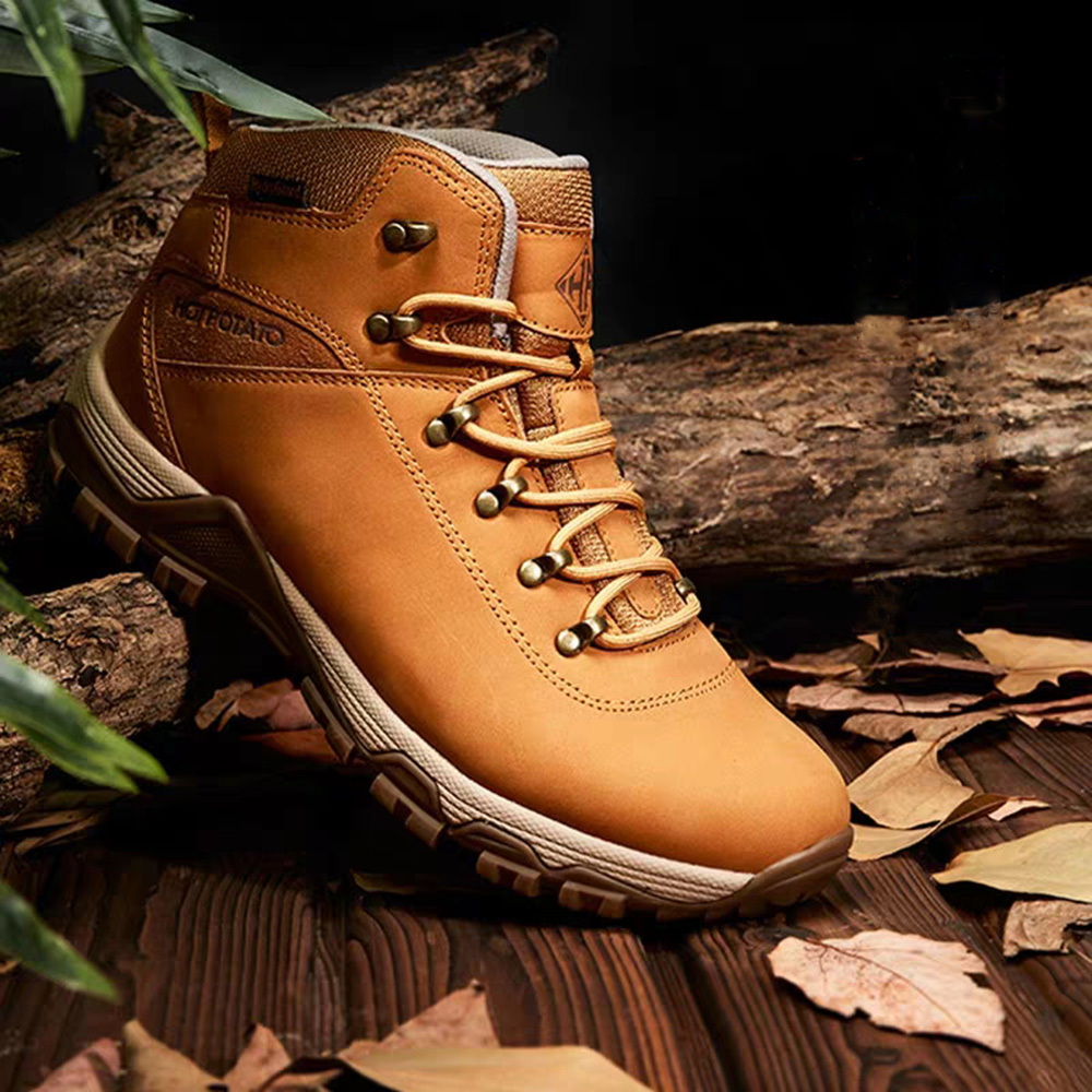 Hot Potato Outdoor Sport Hiking Shoes Men Women Lace Up Leather Anti-Slippery Anti Boots Female Climbing Sport Sneakers Male H13Hot Potato Outdoor Sport Hiking Shoes Men Women Lace Up Leather Anti-Slippery Anti Boots Female Climbing Sport Sneakers Male H13