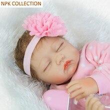 Npk colección 50 cm silicona reborn baby dolls muñeca viva con ropa de la muñeca de dormir tocado, 20 pulgadas bebés reborn boneca