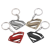 2019 New popular Creative Gift Movie Peripheral Metal Superman Key Chain Car Advertising Waist Key Chain Chain PenDant(China)