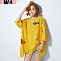DIMANAF Sommer Stil T-Shirt Frauen Plus Größe Harajuku Korea Lose Feste Mode Hälfte Unregelmäßige Lässige New Baumwolle Gelb T-Shirt