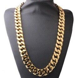 20 MM 16 -40 Super Heavy Dicke Herren Wohnung Curb Kubanischen Kette Halsketten Silber Gold Tone 316L Edelstahl Hip hop Halskette