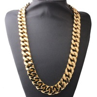20MM 16 40 Super Heavy Thick Mens Flat Curb Cuban Chain Necklaces Silver Gold Tone 316L Stainless Steel Hip hop Necklace