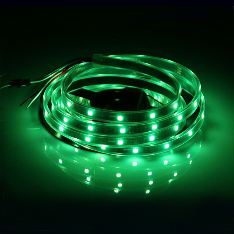 ФОТО 5m/lot + t1000s controller + 4pcs 10m wire  12V 30leds/m ws2811 led pixel strip light,WS2811IC 5050 SMD RGB per meter;waterproof