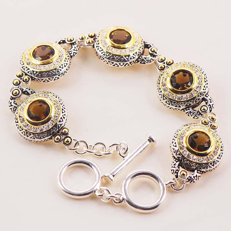 "Nuevo Brown Crystal Zircon Gold Filled Fashion Jewelry Bracelet 8 ""Envío gratis"