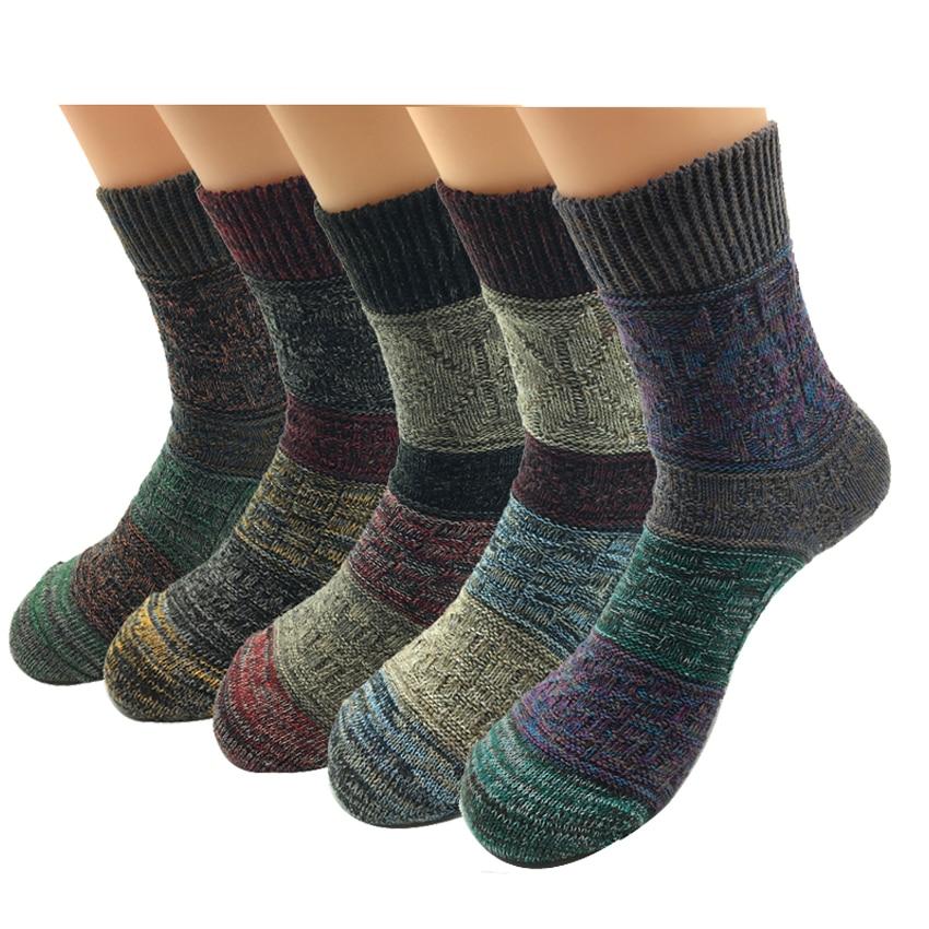 5 Pairs/Lot Cotton Socks Men Harajuku Trendy Vintage Comfortable Design Colorful National Wind Male Socks Hot Sale
