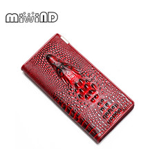 Women Wallet Female 2017 Coin Purses Holders Brand Genuine Leather 3D Embossing Alligator Ladies Crocodile Long Clutch Wallets