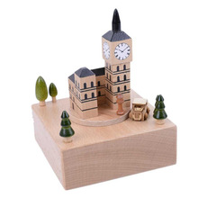 Hot Sale Big Clock Shape Wooden Music Box Lovely Musical Spring Hand Crank Christmas Birthday Gift Toy Home Decor 110*110*150mm