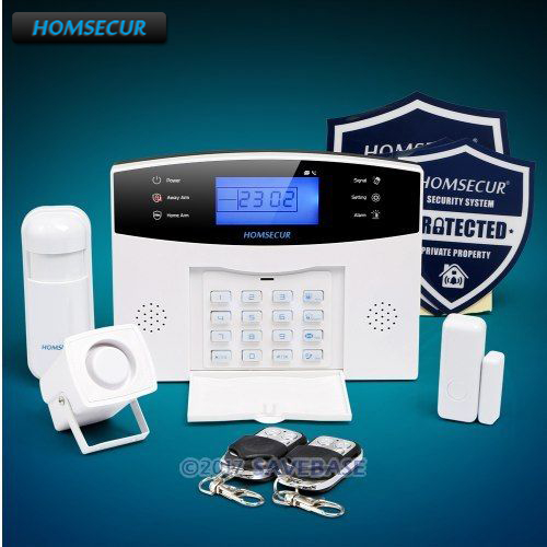 HOMSECUR Wireless&wired LCD 433Mhz GSM 850/900/1800/1900 Home Alarm System with Voice Prompt in EN/DE/ES/FR/RU/PL