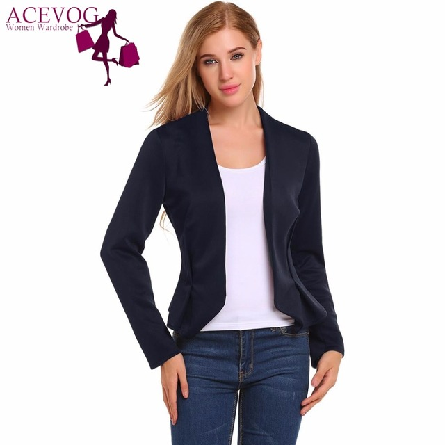 Acevog Slim Fit Casual OL Women Blazer Jacket V-Neck Long Sleeve Open Front Solid Fashion Blazer Feminino Ladies Coat jackets