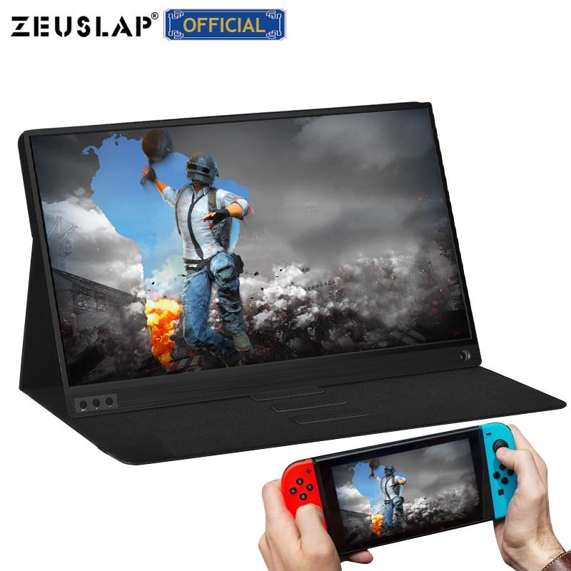 ZEUSLAP delgado portátil lcd hd monitor 15,6 usb tipo c hdmi para ordenador portátil, teléfono, xbox, interruptor y ps4 monitor lcd portátil para juegos