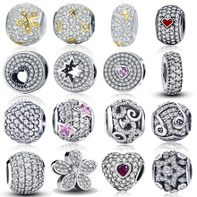 100% Authentic 925 Sterling Silver Dazzling Clear CZ Charm Beads Fit DIY Bracelet Pendants Original Jewelry Gift