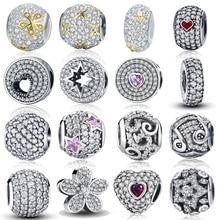 100% Authentic 925 Sterling Silver Dazzling Clear CZ Charm Beads Fit DIY Charm Bracelet Pendants Original Jewelry Gift недорого