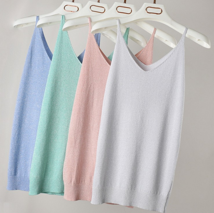 Summer Women Fashion Slim Knitting   Tank     Tops   Female Bodycon Camisole Sleeveless T shirts With Shinning Rayon Knitted