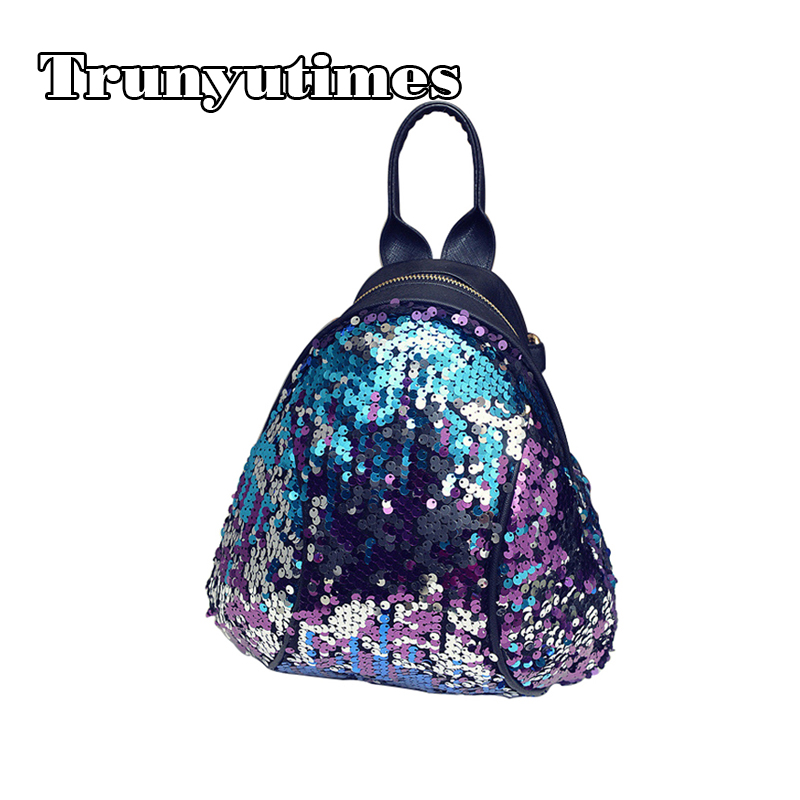 Women PU Leather Small Size Cute Colorful Princess Bling Sequin Backpack For Teenage Girls Daypack Rucksack