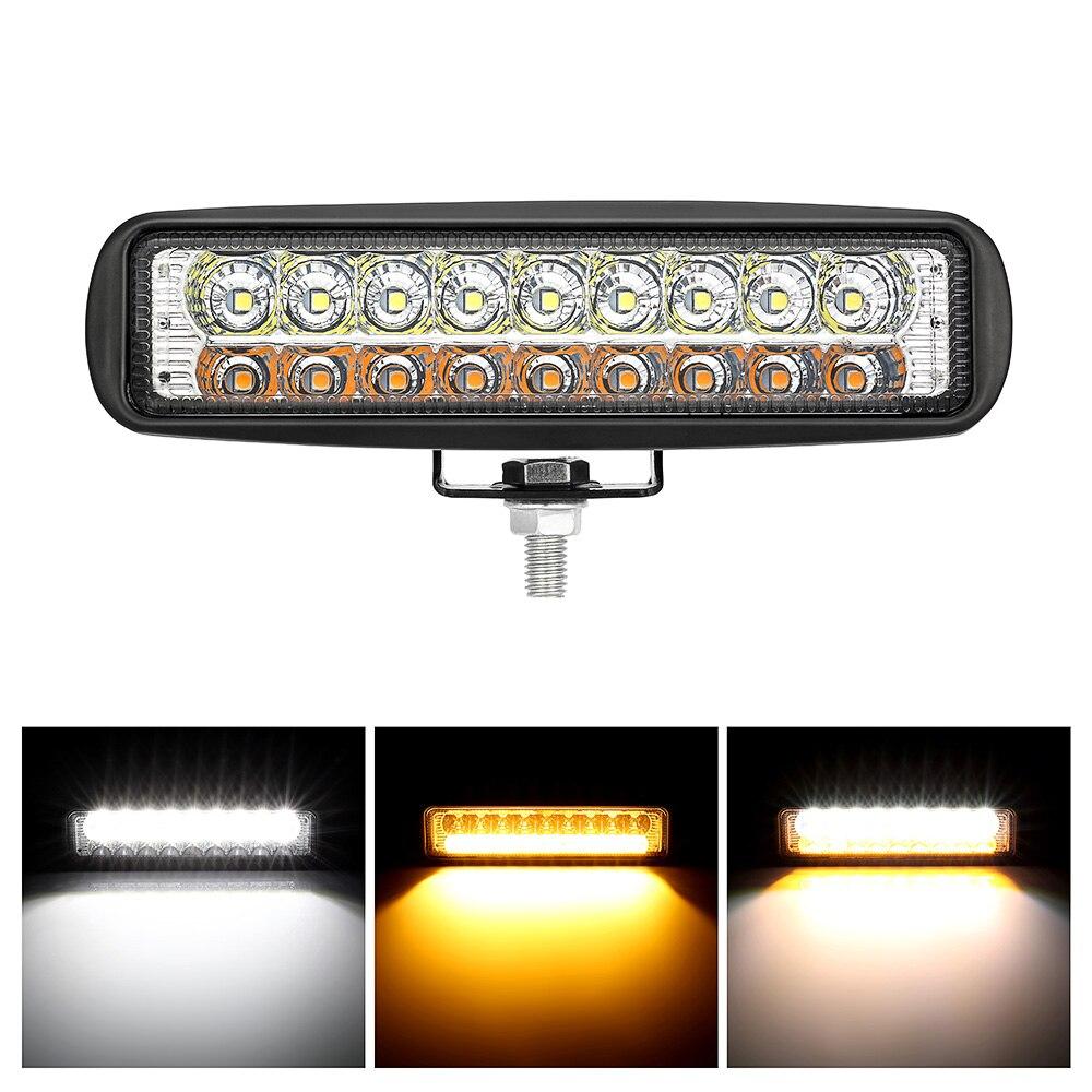 18W Double Color Amber White Led Work Light Bar Combo Beam Yellow Driving Work Lamp Headlight Floodlight Spot Fog Lamp Led Bar