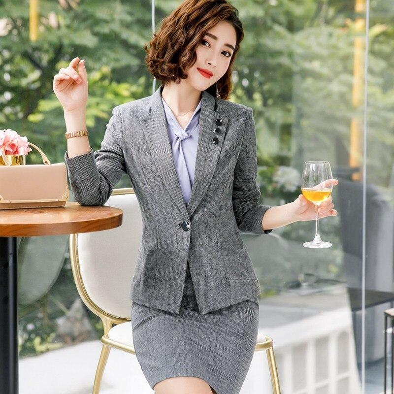 Fmasuth femme bureau costumes dame costume avec robe à manches longues Blazer + robe sans manches d'affaires robe costume yl88-1829
