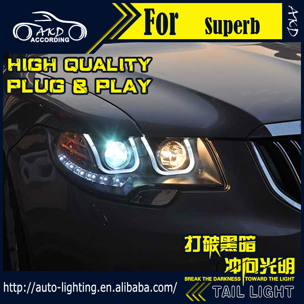 AKD Car Styling Head Lamp for Skoda Superb LED Headlight 2010-2015 Superb DRL H7 D2H Hid Option Angel Eye Bi Xenon Beam ветровики skyline skoda superb iii sd with chrome molding 2015