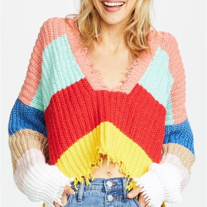 Pull arc-en-ciel pull femme dames chandails mode 2018 femmes hiver chaud tricot pull pulls dames chandails KK2536