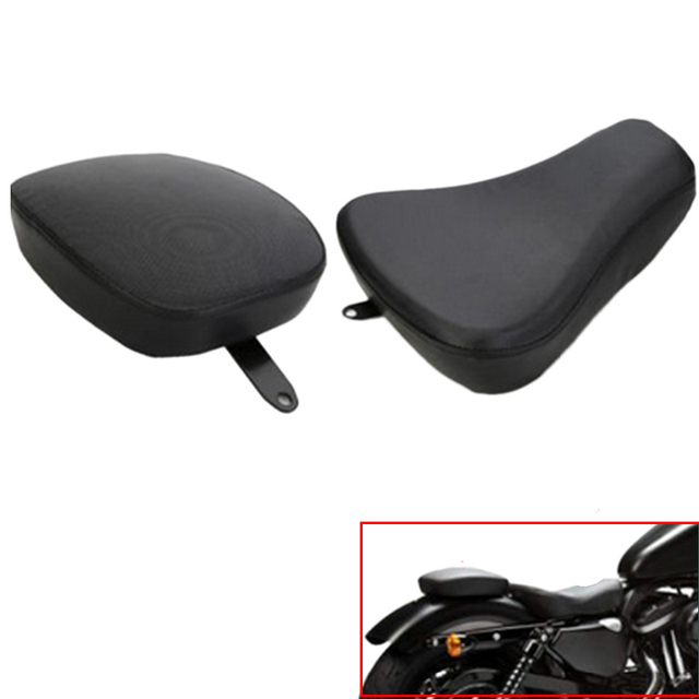 Motorcycle Front Driver Solo Seat + Rear Passenger Cushion Pad For Harley Sportster XL 883 1200 72 48 Motorbike  Saddle #58159