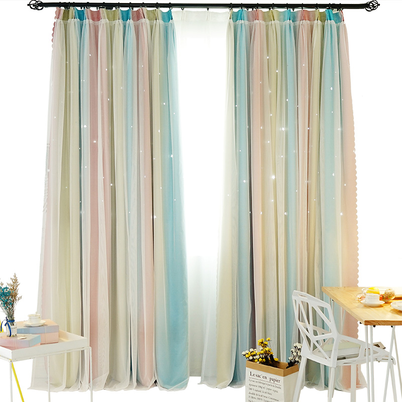 Nordic Gradient Hollow Stars Blackout Curtains For Living Room Bedroom Blue Pink Window Curtain Blinds Stitched with White VoileNordic Gradient Hollow Stars Blackout Curtains For Living Room Bedroom Blue Pink Window Curtain Blinds Stitched with White Voile