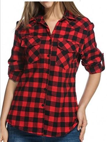 plus size women blouse long sleeve fashion womens top 2019 winter plaid shirts ladies festivals elegance clothing vintage tops