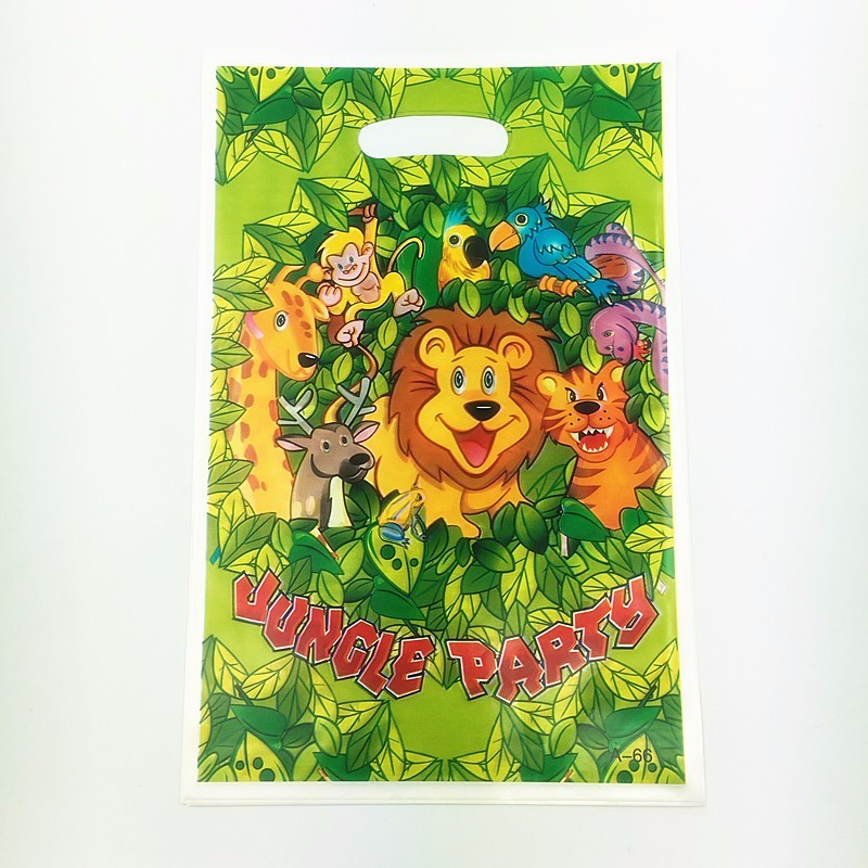 50pcs 25*15.5cm Jungle King lion theme PE gift bag plastic candy bags for Kids birthday party decoration