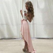 Rosa Chiffon High Low Rock Bänder Taille Bodenlangen Asymmetrische Rock Sommer Stil Röcke Frauen Nach Maß Hohe Quarlity