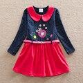 Menina crianças vestindo longo-vestido de algodão de mangas compridas cinto de outono fundo bordado tutu doce na altura do joelho-comprimento vestido atacado LH6869
