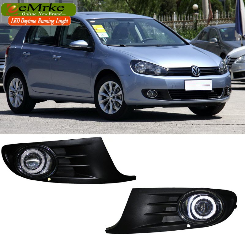 eeMrke For Volkswagen VW Golf6 Golf MK6 LED Angel Eyes Fog Lamp DRL Daytime Running Lights Halogen Bulbs H11 55W Kits auto led car bumper grille drl daytime running light driving fog lamp source bulb for vw volkswagen golf mk4 1997 2006 2pcs