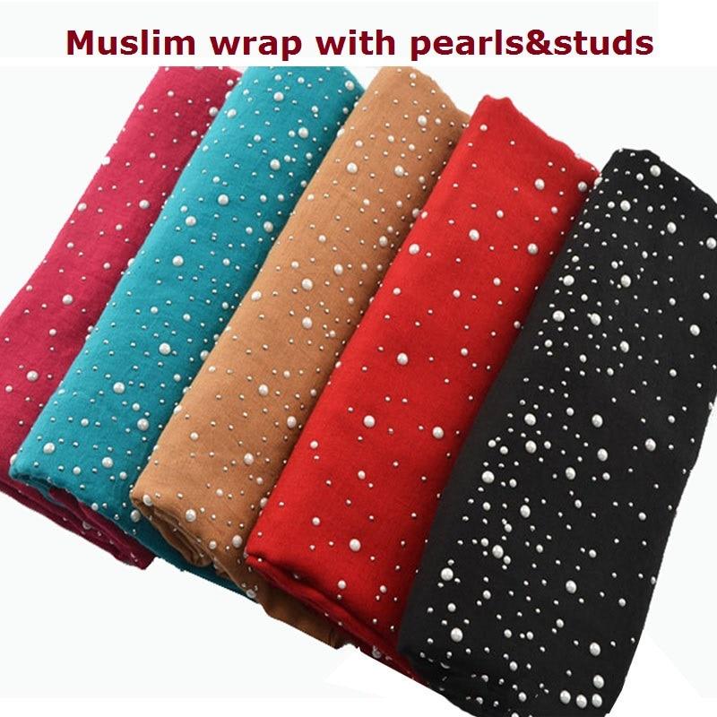 Fashion muslim hijab plain hijab with pearls cotton head scarf with studs shawls and scarves head