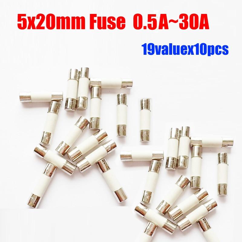 Free Shipping 19valuesX10pcs=190pcs 5x20 0.5A-30A Ceramic Fuse Assorted Packs 5*20 250V Ceramic Fuses Kit