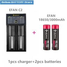 2 шт. EIZFAN IMR18650 IMR 18650 3000 мАч 60A EFAN аккумуляторная батарея E-CIG батарея для вейпа с EFAN C2 usb led интеллектуальное зарядное устройство