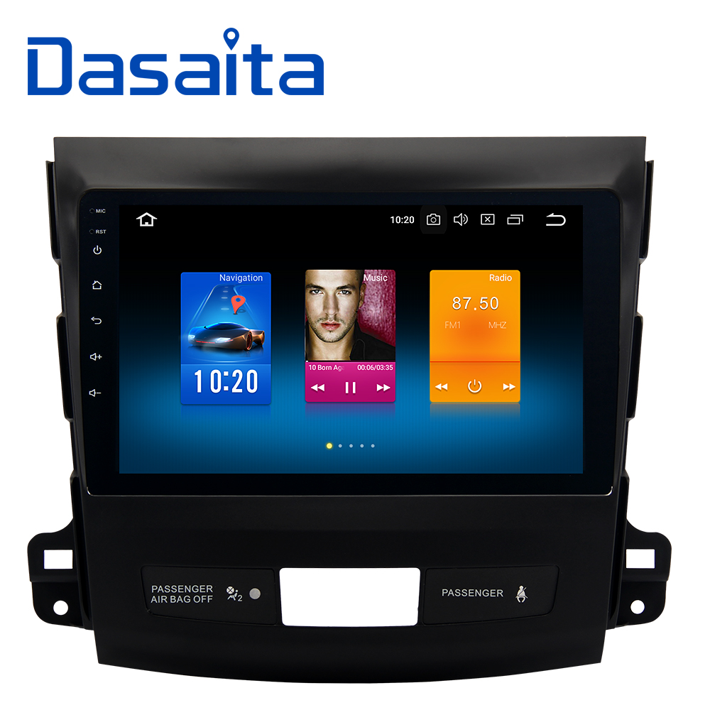 Dasaita 9 Android 8.0 Car GPS Radio Player for Mitsubishi Outlander 2007-2011 with Octa Core 4GB+32GB Auto Stereo Multimedia