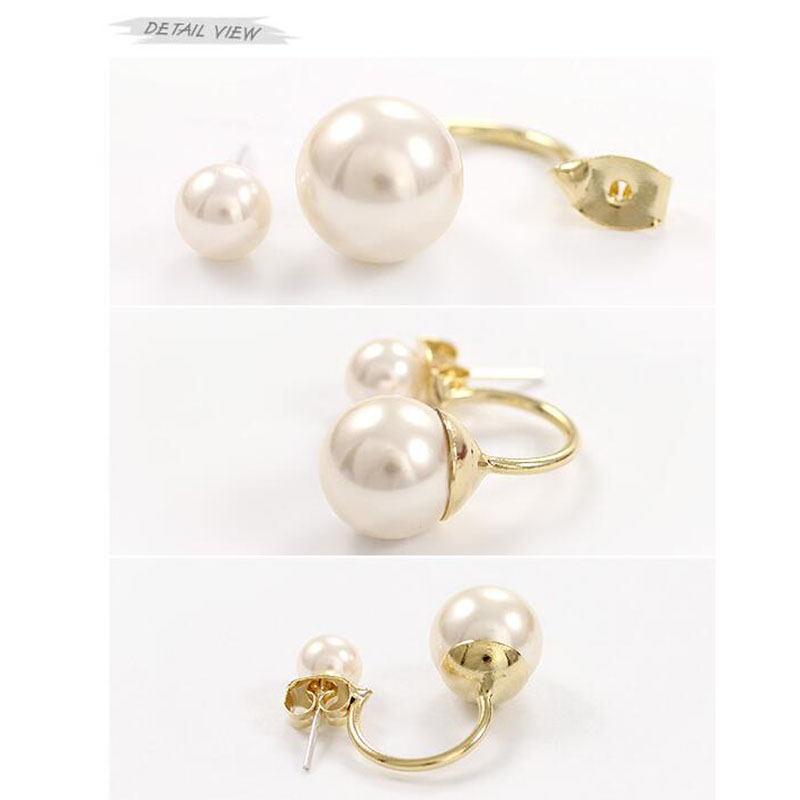 New Style Double Simulated Pearl Stud Earrings For Girls Party Wedding Cute fashion Jewelry Accessories Good Gift 2017 Hot Sale