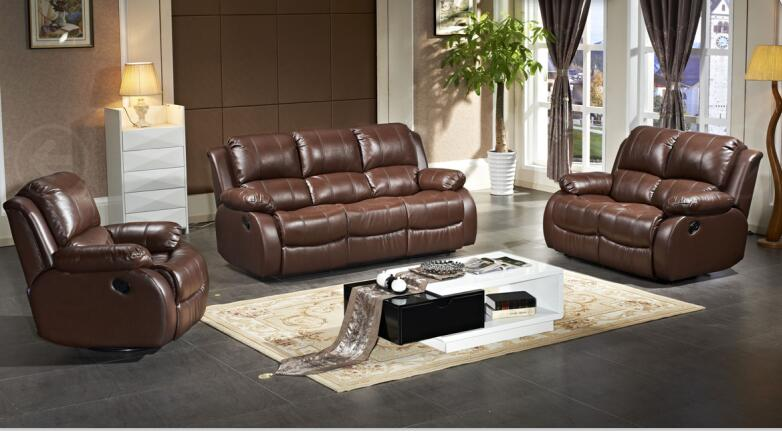 Genuine Leather Sofa Set With Recliner