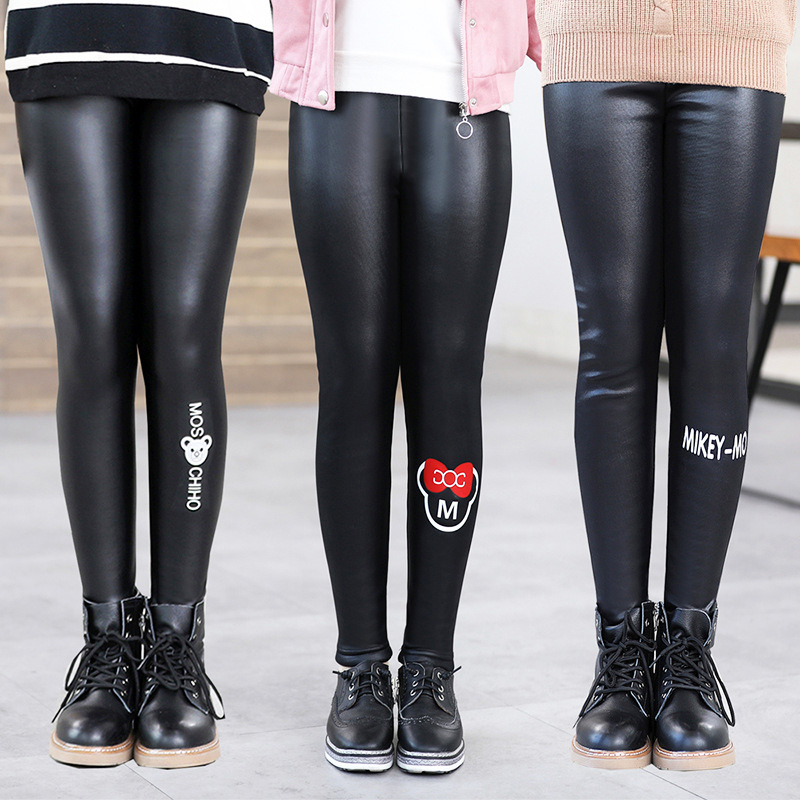 4ab0047a6f New Winter Girls Leggings Plus Velvet False PU Leather Girls Leggins  Cartoon Mickey Crow Rabbit Pencil Pants Trouser Getry Legin