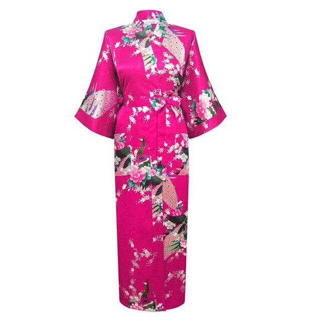 Sexy Charming Long Faux Silk Robe Gown Casual Nightgown Print Peacock&Flower Sleepwear Plus Size S-XXXL S02G