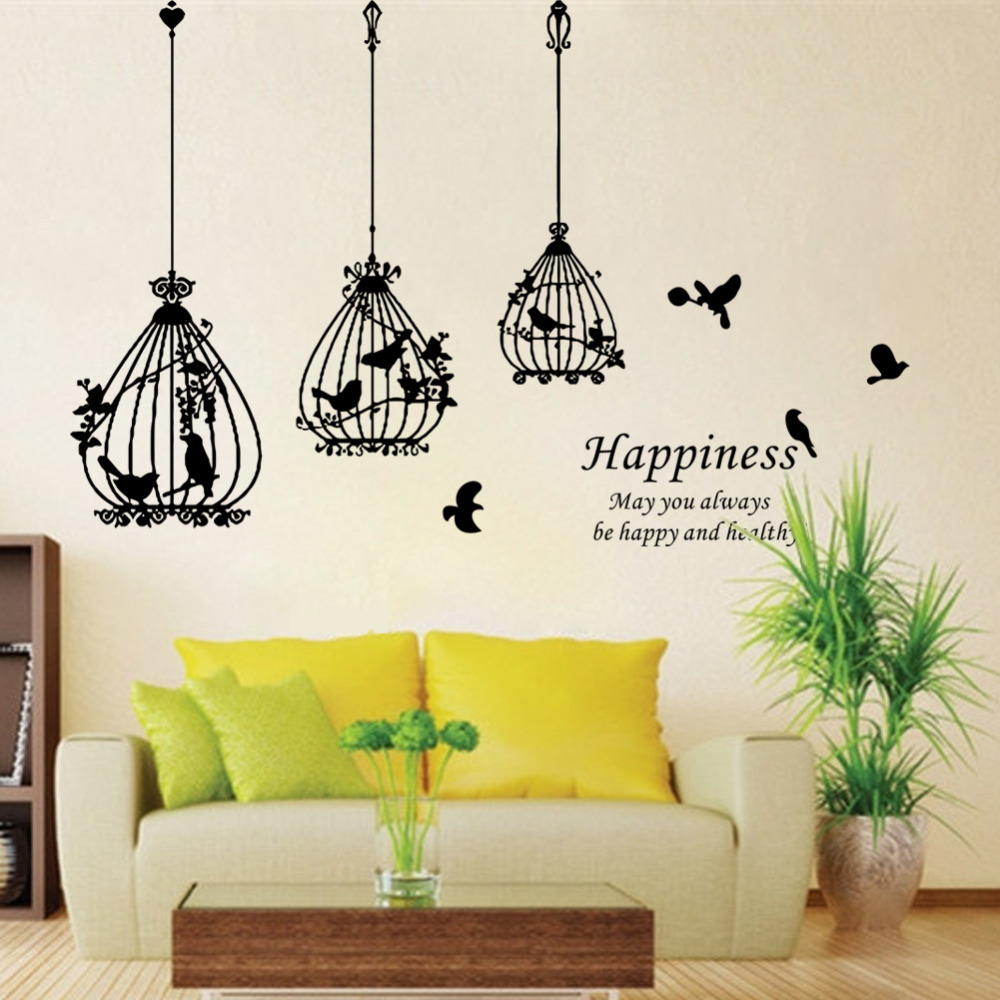 Living Room Decals happiness bird cage removable wall sticker living room decals