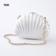 New Women Handbag Acrylic Shell Messenger Bag Casual Pearl Clutch Brand Fashion Evening Mini Off White Solid