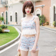 2016 cute soft sister corset style short vest tops lace high waist shorts twinset sea shell print mermaid dream beach suit cloth