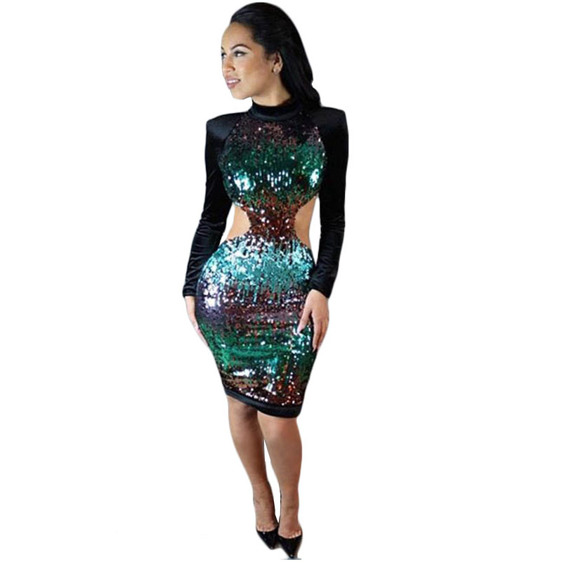 Detail Feedback Questions about Autumn Winter Sexy Backless Club Dress  Sequin Long Sleeve Women Bodycon Bandage Dress Sequined Party Dresses  Vestidos S2601 ... 71dc0abfb7f0