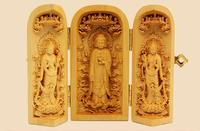 100% of boxwood carving decoration difficult mammon folding box three guanyin statue