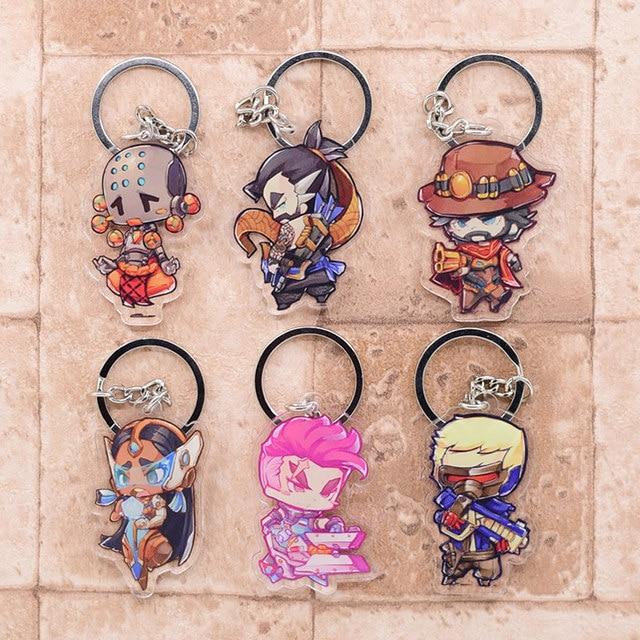 Overwatch Keychain Clear Acrylic Key Chain Pendant Anime Accessories Cartoon Key Ring 1