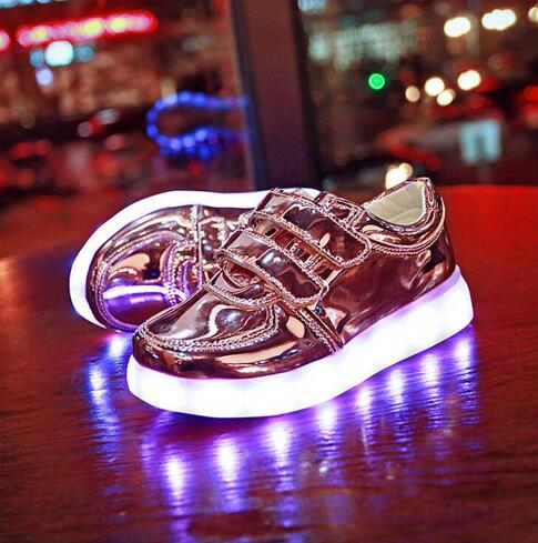 2017 new fashion shoes boy LED Light USB Rechargeable casual shoes girl colorful light flashing shoe size 25~34