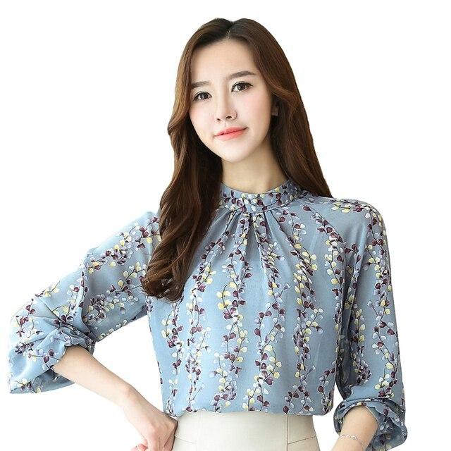 79ca3b852f442 2017 Ruffle Blouse Shirt Women Blouses Plus Size Women Clothing flower  printed long sleeve Shirt New Discounts Low Price 902F